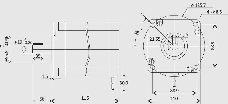 Leadshine 110hs12 2 phase nema 42 stepper motor for Nema 42 stepper motor datasheet