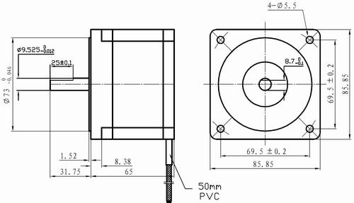 Leadshine 86hs35 2 phase nema 34 stepper motor for Nema stepper motor frame sizes