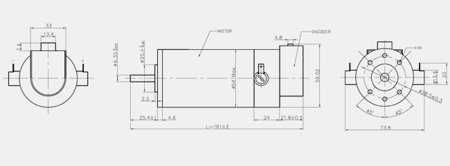 dcm50205d brush dc servo motor  54 mm diameter  80w rated power  31 2 oz